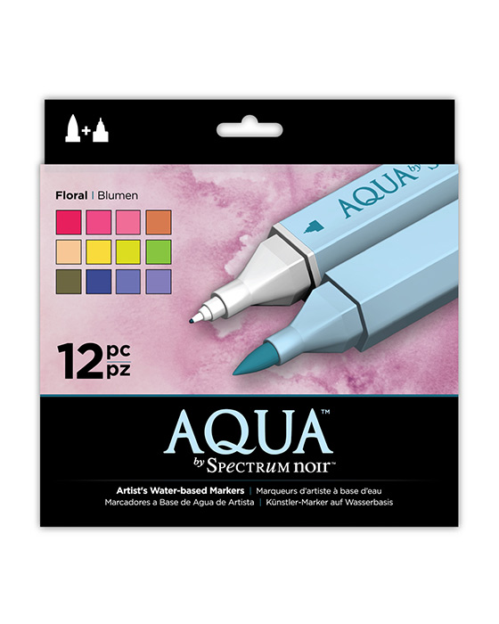 Spectrum Noir Aqua Pens 12pc Set - FLORAL