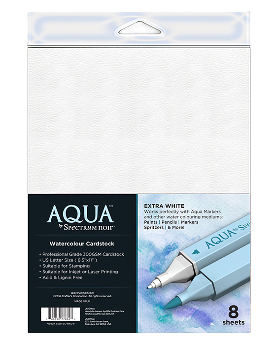 Spectrum Noir Aqua Watercolour Cardstock - Pack of 8 Sheets